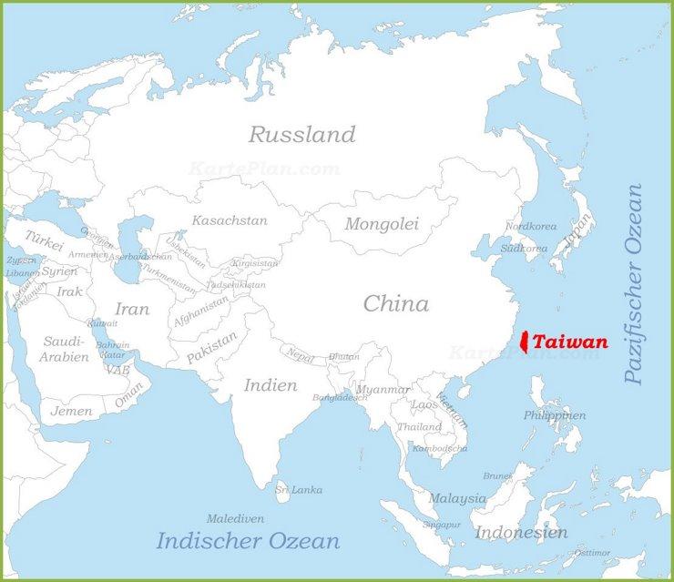 Taiwan auf der karte Asiens