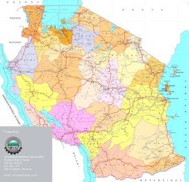 Große detaillierte karte von Tansania
