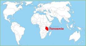 Tansania auf der Weltkarte