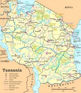 Tansania politische karte