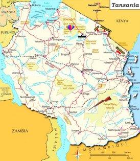 Tansania touristische karte