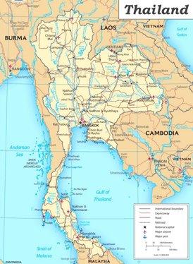 Straßenkarte von Thailand