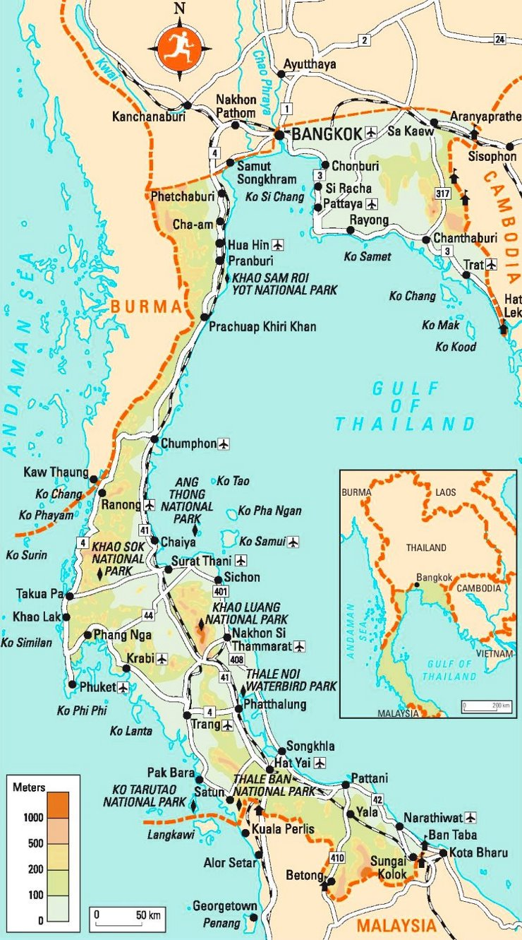 Südthailand Karte