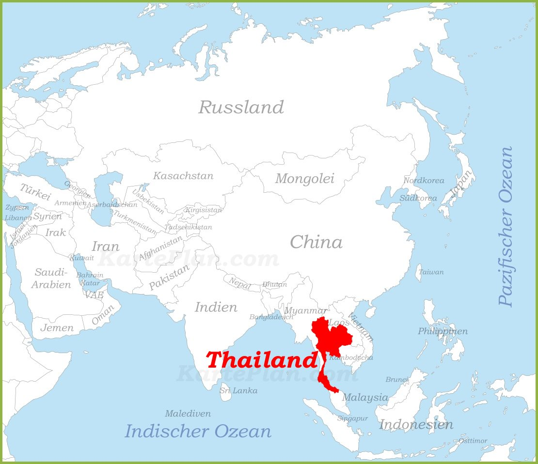 Thailand Auf Der Karte Asiens