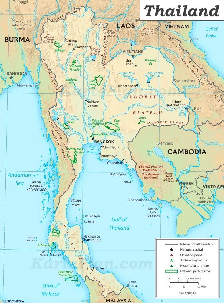 Thailand sehenswürdigkeiten Karte