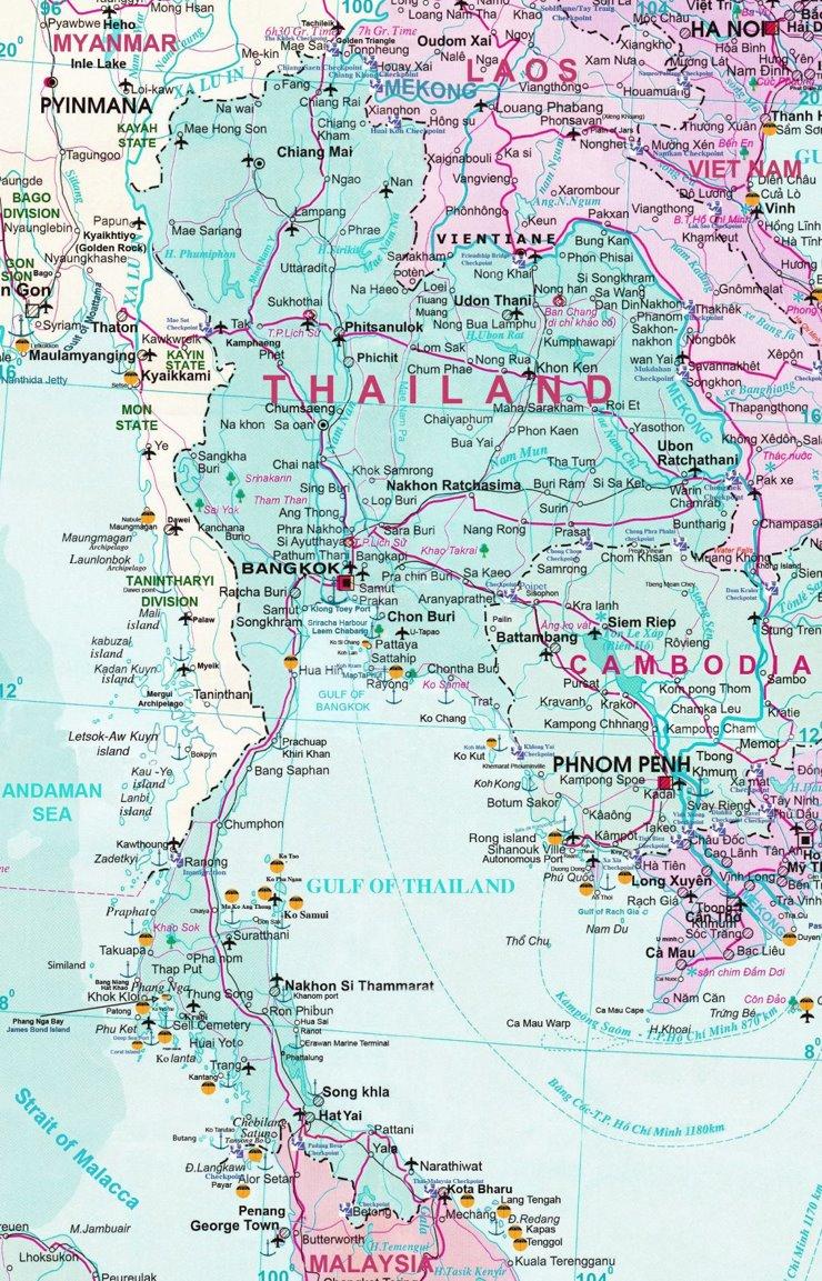 Thailand touristische karte