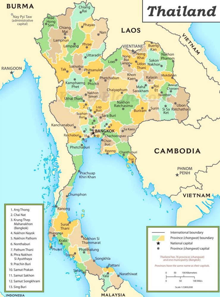 Verwaltungskarte von Thailand