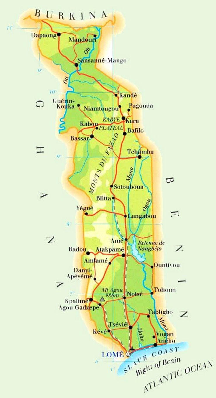 Physische landkarte von Togo