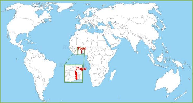 Togo auf der Weltkarte