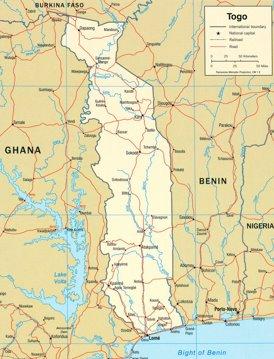 Togo politische karte
