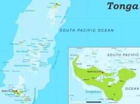 Physische landkarte von Tonga