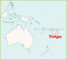 Tonga auf der karte Ozeaniens
