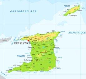 Physische landkarte von Trinidad und Tobago