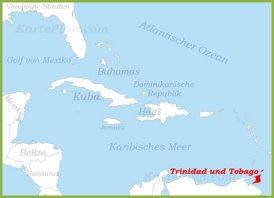 Trinidad und Tobago auf der karte Karibiks