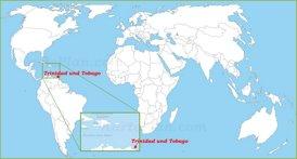 Trinidad und Tobago auf der Weltkarte