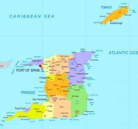 Trinidad und Tobago politische karte