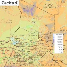 Physische landkarte von Tschad
