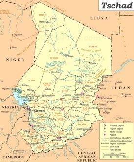 Tschad politische karte