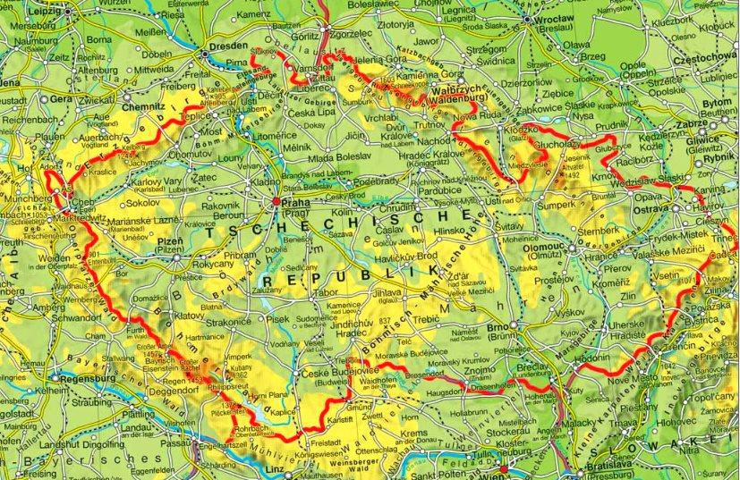 Karte Tschechien.Physische Landkarte Von Tschechien