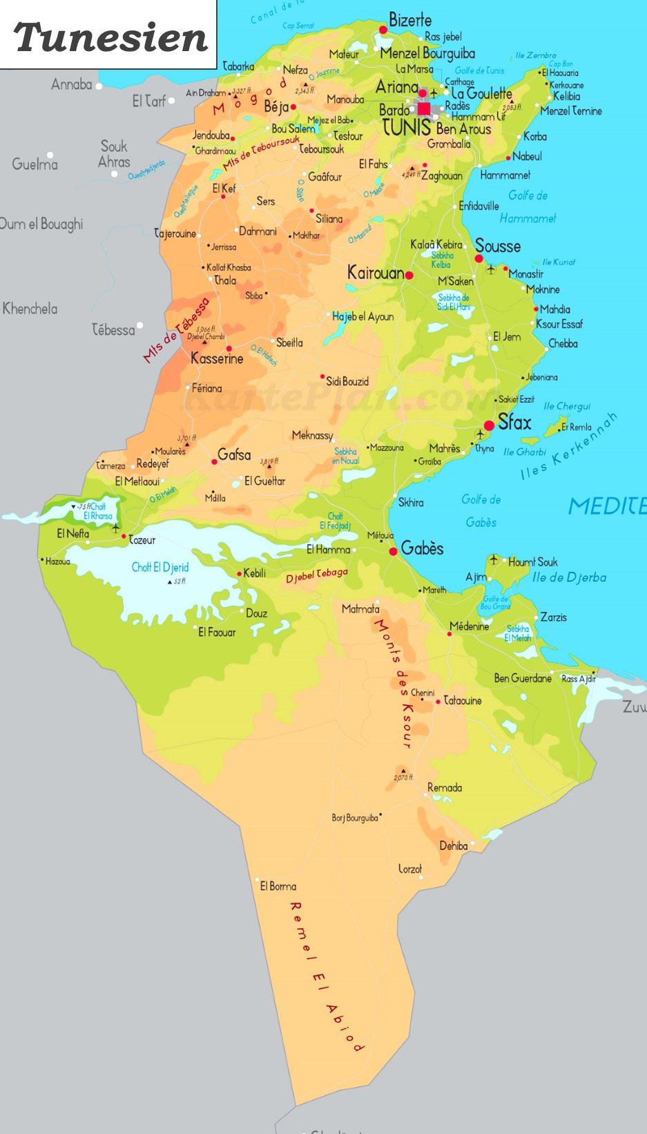 Tunesien Karte.Physische Landkarte Von Tunesien