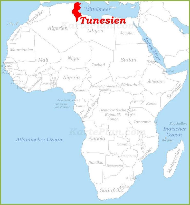 Tunesien auf der karte Afrikas