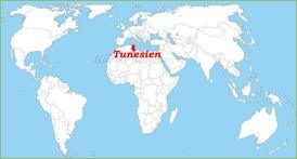 Tunesien auf der Weltkarte
