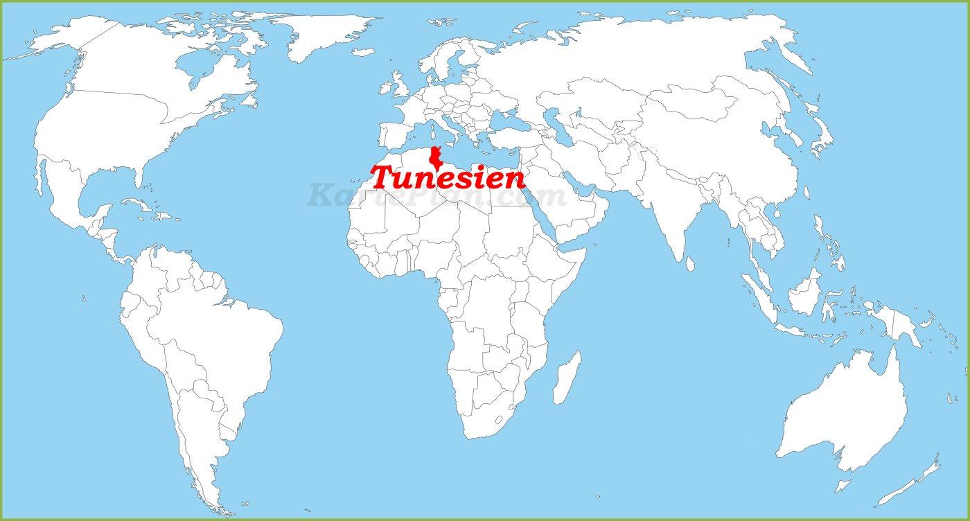 Tunesien Karte Welt.Tunesien Auf Der Weltkarte