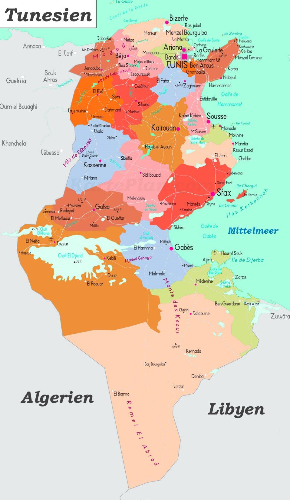 Tunesien Karte.Tunesien Politische Karte
