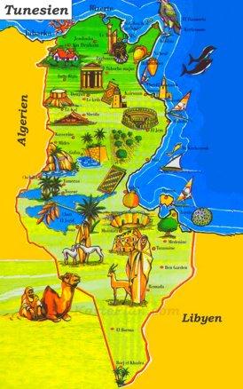 Tunesien touristische karte