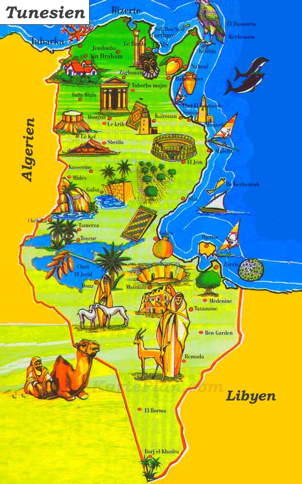 Tunesien Karte.Tunesien Touristische Karte