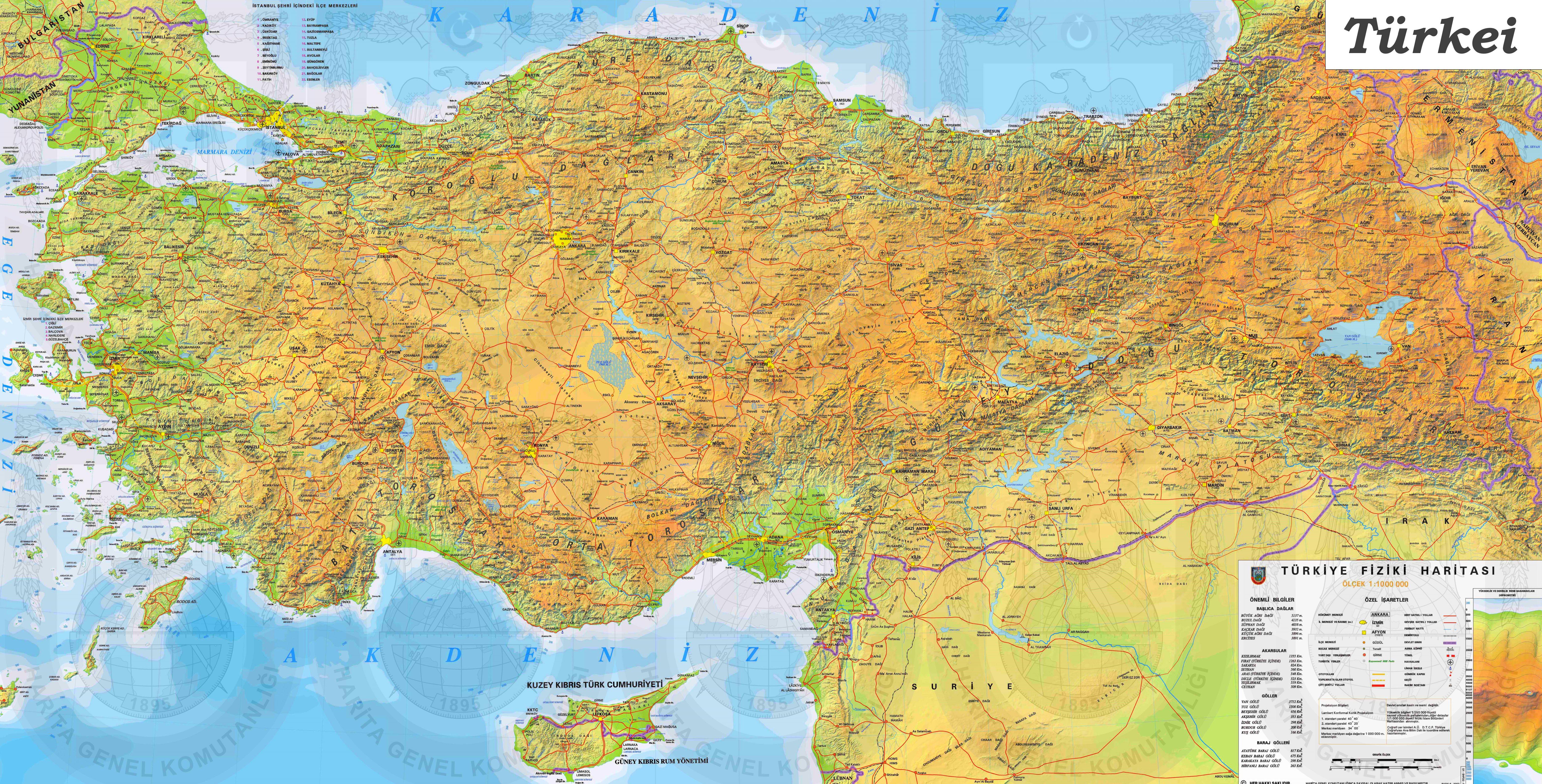 Karte Türkei.Große Detaillierte Karte Von Türkei