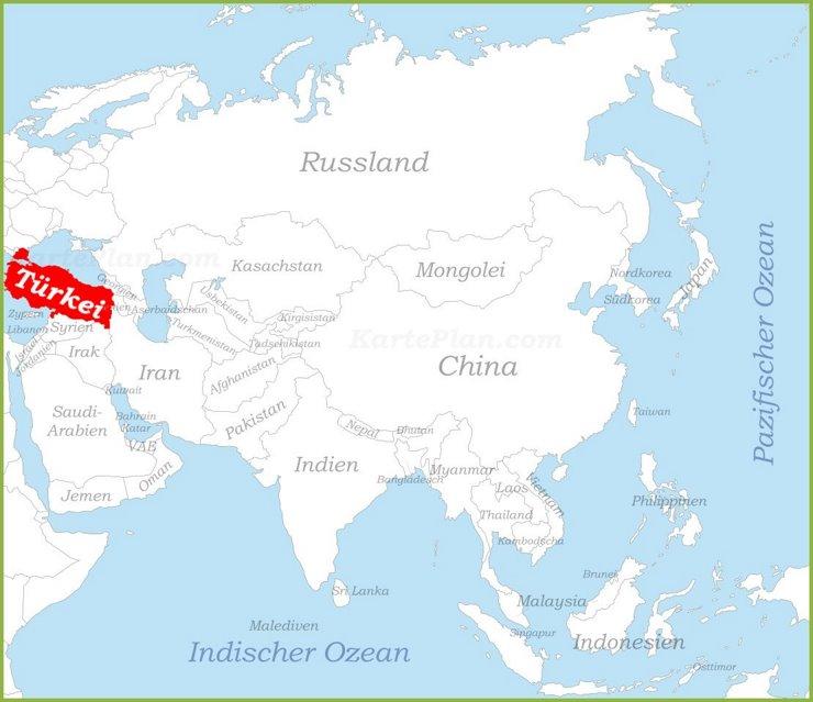 Türkei auf der karte Asiens