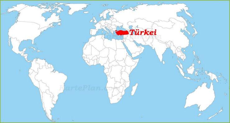 Türkei auf der Weltkarte