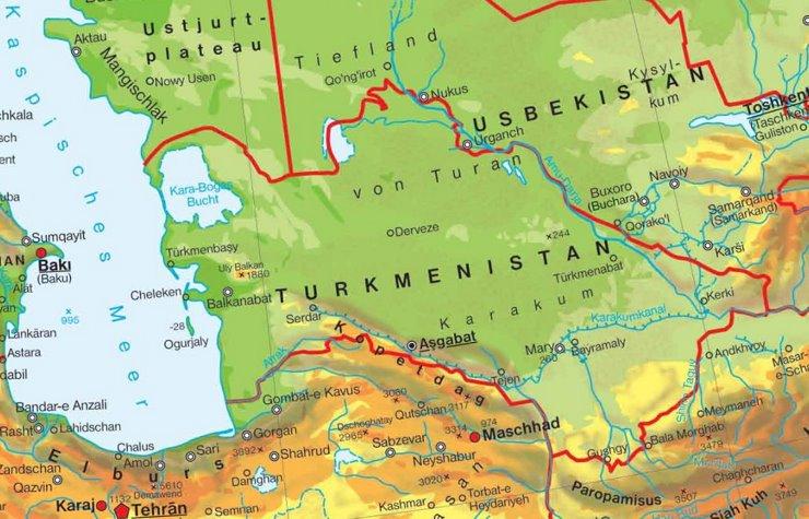 Physische landkarte von Turkmenistan