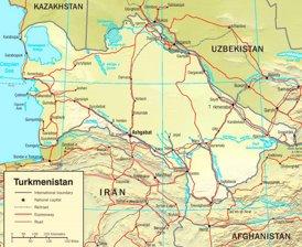 Straßenkarte von Turkmenistan