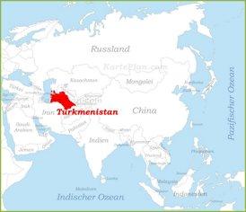 Turkmenistan auf der karte Asiens