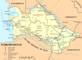 Turkmenistan politische karte