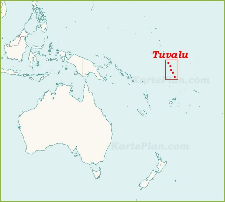 Tuvalu auf der karte Ozeaniens
