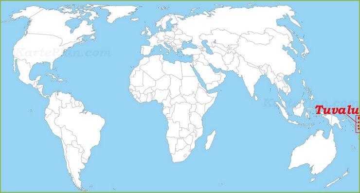 Tuvalu auf der Weltkarte