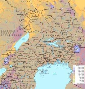 Physische landkarte von Uganda