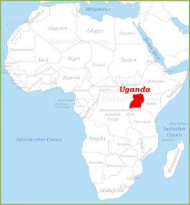 Uganda auf der karte Afrikas