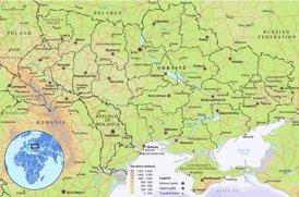 Physische landkarte von Ukraine