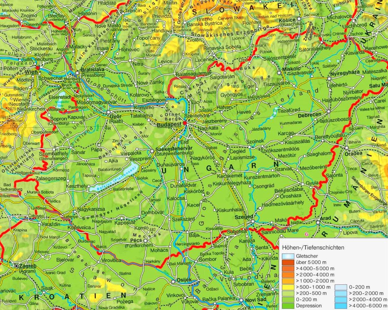 Physische Landkarte Von Ungarn