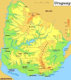 Physische landkarte von Uruguay