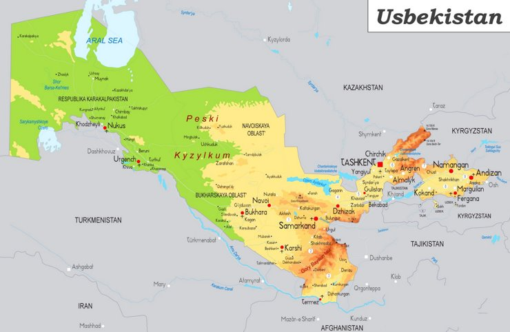 Physische landkarte von Usbekistan