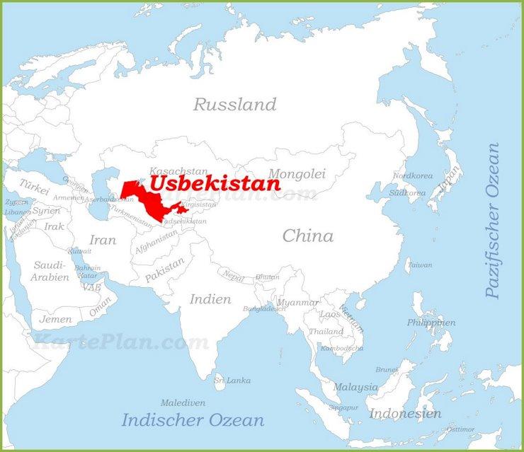 Usbekistan auf der karte Asiens