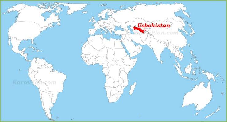 Usbekistan auf der Weltkarte