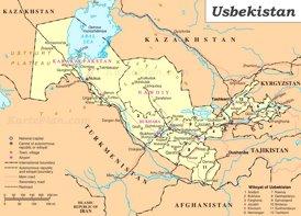 Usbekistan politische karte