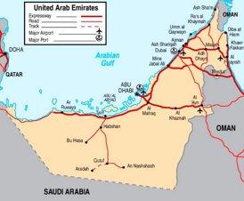 Straßenkarte von Vereinigte Arabische Emirate