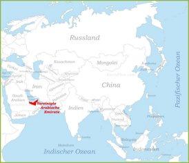 Vereinigte Arabische Emirate auf der karte Asiens